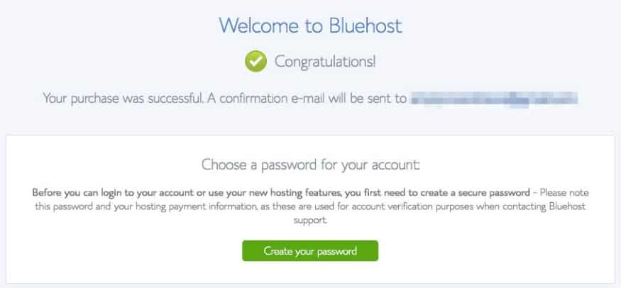 Bluehost Password Page