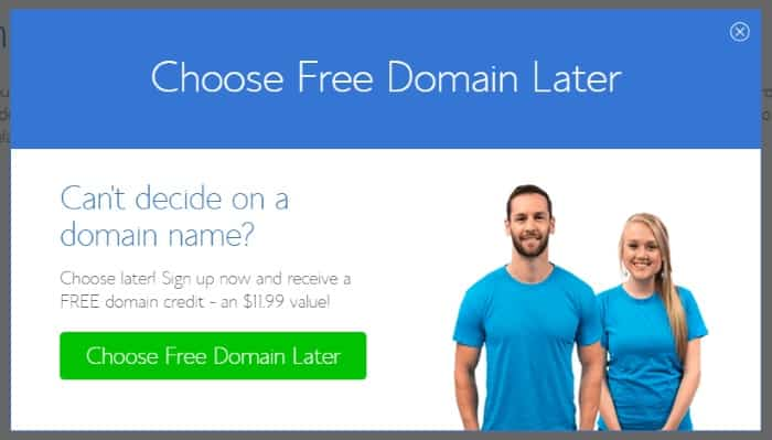 Bluehost Choose Domain Later
