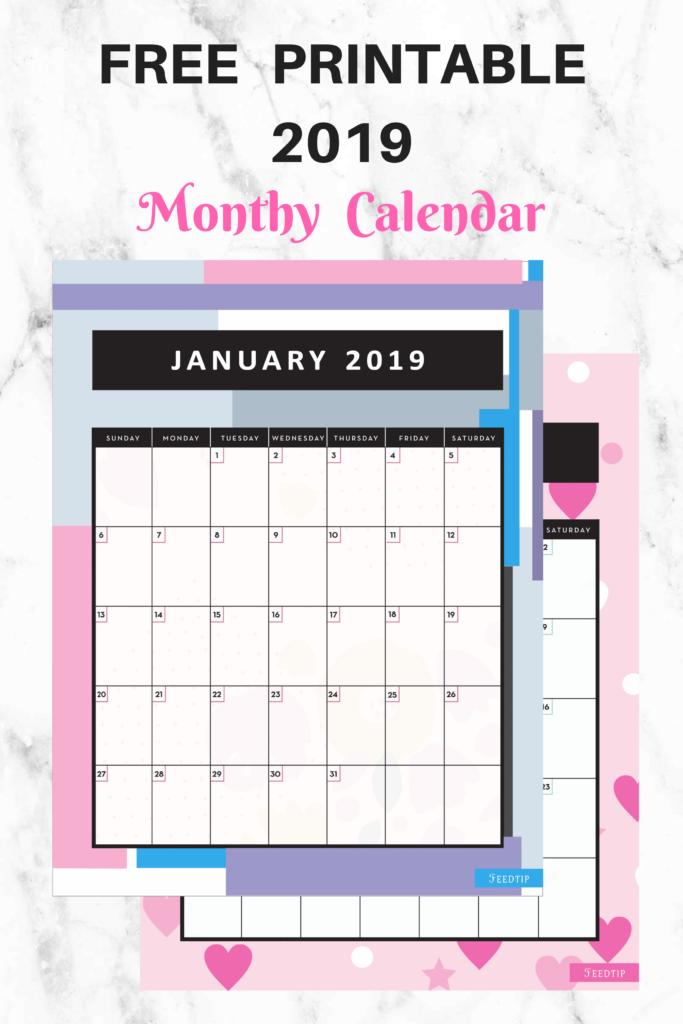 FREE PRINTABLE 2019 Monthly Calendar, free printable 2019 calendar