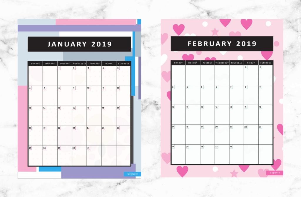 free printable 2019 calendar, Free printable 2019 monthly calendar